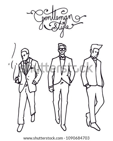 gentleman lifestyle clothing clothing walking outline stock vector Clothes Worn in the 1950s gentleman lifestyle clothing men s clothing men s walking outline gentleman style letters text