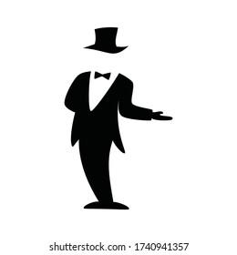 Gentleman Logo, concierge icon, butler icon vector