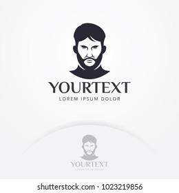 Gentleman logo design. vector illustration bearded man for Barber, Barber Shop, Business men, hipster emblem design. Bearded man logo template
