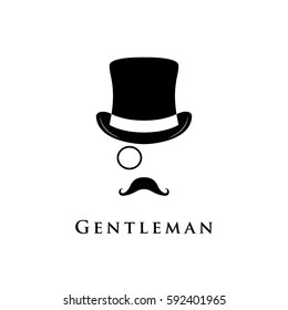 Gentleman logo. Vector illustration of cylinder hat, moustache and monocle.