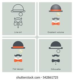 Gentleman Mask Disguise Victorian Hat Mustache Bow Monocle Businessman Retro Vintage Hipster Icon Great Britain Flat Design Line art Vector Illustration