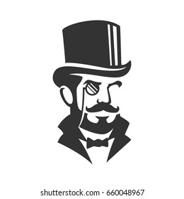 Gentleman monocle illustration silhouette