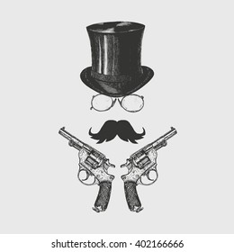Gentleman with moustaches, glasses, top hat and revolvers. Victorian logo template. Icon set vector. Hand drawn illustration