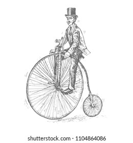 Gentleman with mustaches on retro vintage old bicycle. Penny-farthing or High Wheel Bicycle. Victorian Era steampunk Engraving vector lineart Hand drawn illustration