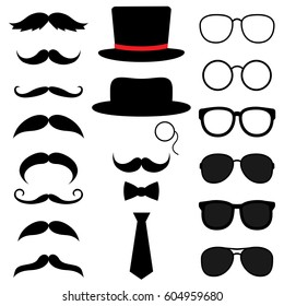 Gentleman photo booth vector set with hats, mustaches, glasses and bow tie