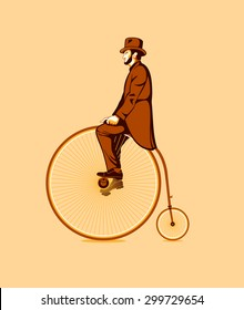 Gentleman riding a retro penny farthing bicycle