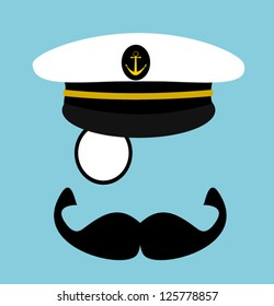 gentleman with sailor hat and monocle