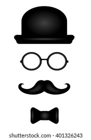 Gentleman set with black hat, glasses, mustaches and bow tie. Vector illustration for your graphic design.
