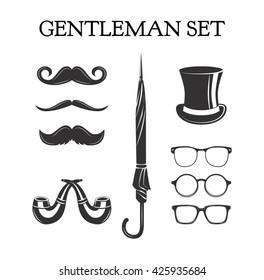Gentleman set. Mustache set. Glasses. Eyeglasses. Top hat. Umbrella. Pipe smoking.  Vector illustration on white background.