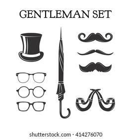 Gentleman set. Mustache set. Glasses. Pipe smoke glasses eye. eyeglasses. Top hat. Umbrella. Pipe smoking. happy father day.