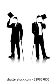 gentleman  silhouette on a white background