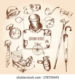 Gentleman sketch set with retro style watches monocle tie isolated vector illustration