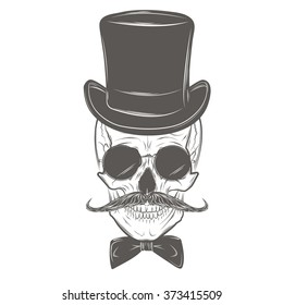 Gentleman skull with mustache, bow tie, top hat and smoking pipe. Skull print, skull illustration  isolated on white background. Vector mode