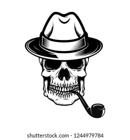 2c926d0949e64 Gentleman skull with smoking pipe. Design element for logo