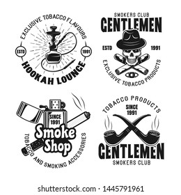 Gentleman smokers club, hookah lounge set of vector emblems, labels, badges or logos in vintage monochrome style isolated on white background