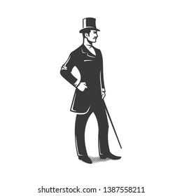 gentleman standing vintage vector design