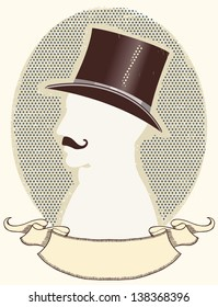 Gentleman in a top black hat and mustache.Vector face silhouette and scroll for text