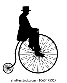A gentleman in a top hat riding a penny farthing silhouette isolated on a white background