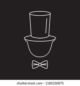 Gentleman tophat icon. Outline illustration of Gentleman tophat vector icon for web and advertising isolated on black background. Element of culture and traditions