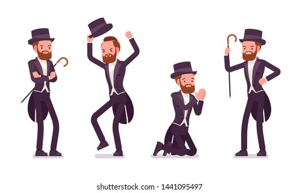 Gentleman in tuxedo jacket, negative emotions. High social rank man, fashionable dandy in classic suit, cylinder hat feeling angry. Vector flat style cartoon illustration isolated on white background