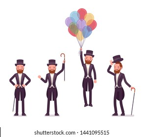Gentleman in tuxedo jacket positive emotions with balloons. High social rank man, fashionable dandy in classic suit and cylinder hat. Vector flat style cartoon illustration isolated, white background