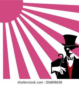 gentleman under the purple sun vector illustration