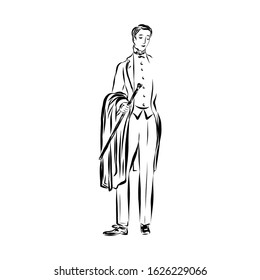 Gentleman in vintage style from the nineteenth century. Man dressed in classic costume holding a cane. Drawing for coloring.