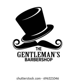 Gentlemans barber shop black emblem with tall hat and mustaches