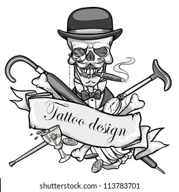 Gentleman's skeleton black and white vector illustration,  tattoo design with space for text