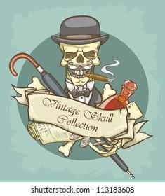 Gentleman's skull logo design - Vintage Skull Collection