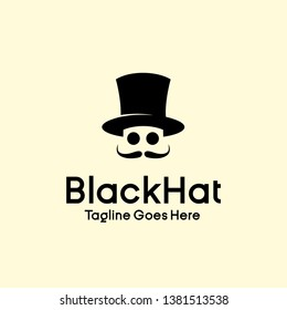 gentlemen club logo design vector. universal elegance Black cylinder hat, mustache and glasses brand template illustration