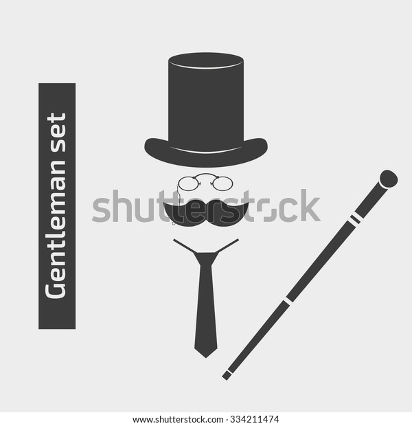 7b6a88f88a3b64 Gentlemen vintage stuff design elements. Retro vector illustration of top  hat, mustaches, stick