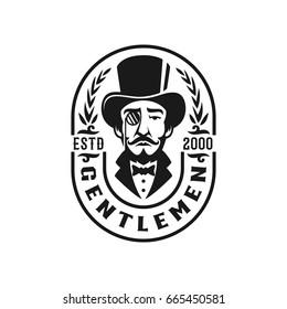 gentlemen vintage style logo badge