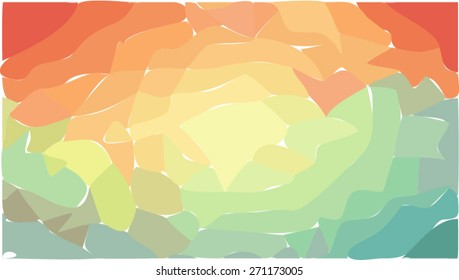Gently sunset on green hills cartoon landscape, abstract nature background vector illustration.