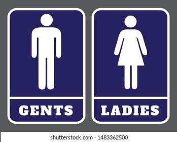 Gents washroom sign and Ladies washroom sign