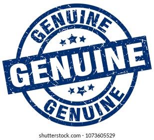 genuine blue round grunge stamp