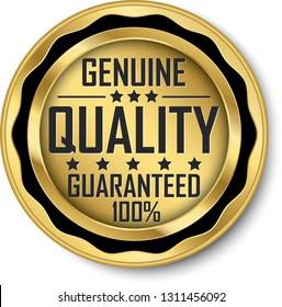 Genuine quality guaranteed 100% gold label, vector illustration