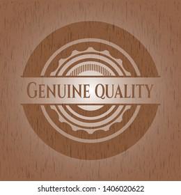 Genuine Quality retro wooden emblem. Vector Illustration.