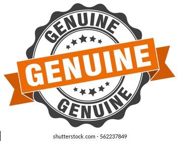 genuine. stamp. sticker. seal. round grunge vintage ribbon genuine sign