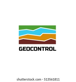 Geo Control is an industrial and geological vector logotype concept. Grass, sand, water and ground ideas in this business logo template.