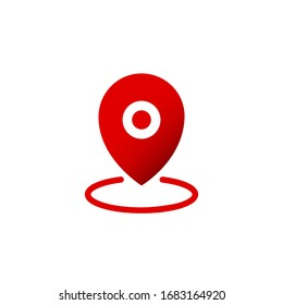 Geo pin, location icon in red or geolocation, gps, map pointer on isolated white background. EPS 10 vector.