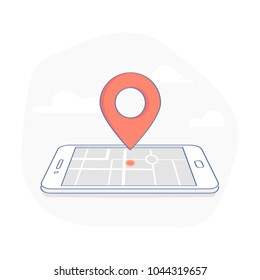 Geo Pin Tag on mobile phone display. Smartphone with map on screen. GPS, Destination, Traveling, Map Navigation, Location, Road Direction and pointer marker icon concept. Flat outline sign.