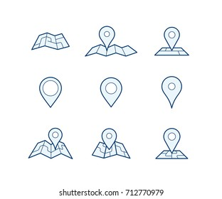 Geo pins and maps for your own custom location pin icon for app or contact web page. Map with pin symbol vector icons. Navigation and route concept illustration