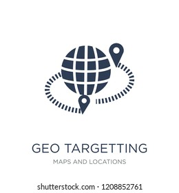 geo targetting icon. Trendy flat vector geo targetting icon on white background from Maps and Locations collection, vector illustration can be use for web and mobile, eps10