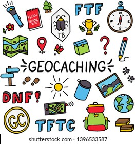 Geocaching colorful doodle drawing equipment set