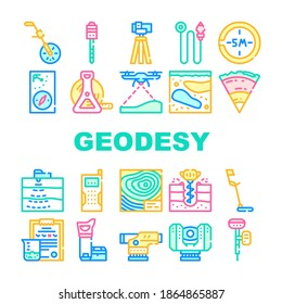Geodesy Equipment Collection Icons Set Vector. Odometer And Marking Peg, Picket And Compass, Roulette And Georadar, Geodesy Locator And Laser Concept Linear Pictograms. Contour Illustrations