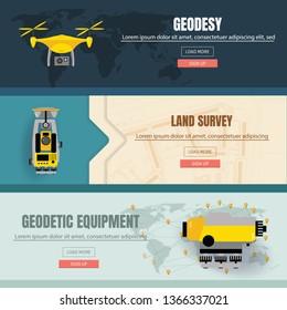 Geodetic measuring equipment banner set, engineering technology for land survey