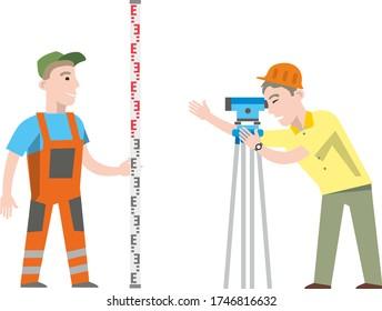 Geodetic works: an engineer surveyor works with theodolite surveying equipment. Flat infographics. Vector illustration