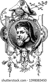 Geoffrey Chaucer c. 1343 to 1400 he was famous English poet author philosopher and astronomer famous as Father of English literature vintage line drawing or engraving illustration