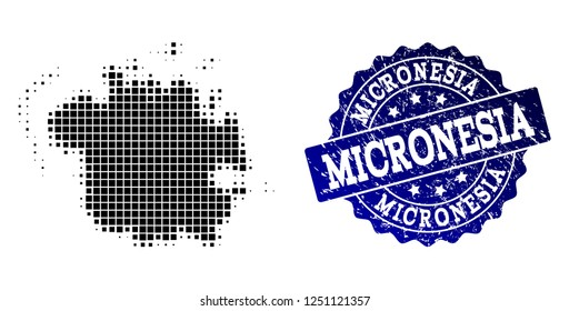 Geographic collage of dot map of Micronesia island and blue grunge seal watermark. Halftone vector map of Micronesia island composed with rectangular pixels. Flat design for infographic illustrations.